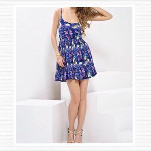 BB Dakota Blue/Purple Floral Pleated Dress